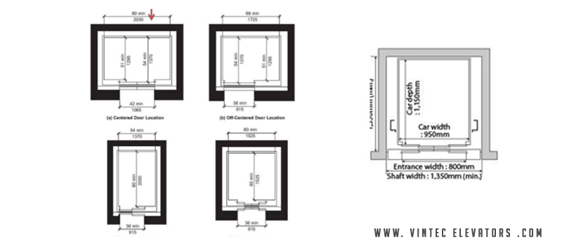 standard lift sizes dimensions for different capacity of